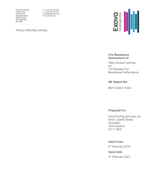 Exova Warringtonfire Fire Certificate BMT/CNA/F15304