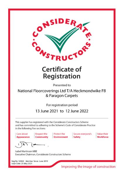 Heckmondwike Considerate Constructors Certification