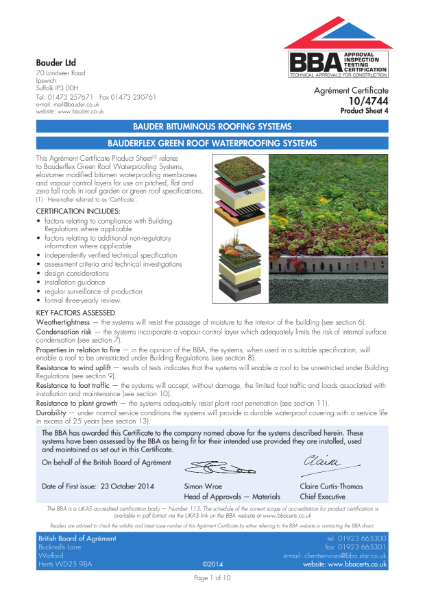 BAUDERFLEX GREEN ROOF WATERPROOFING SYSTEMS