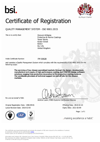 Sherwin-Williams standards certification - ISO9001