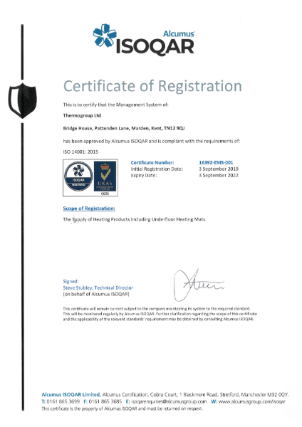 ISO 14001 Certificate - ThermoSphere
