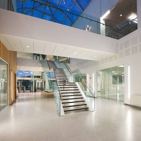 Easy Glass Slim glass stair and atrium railings for research centre