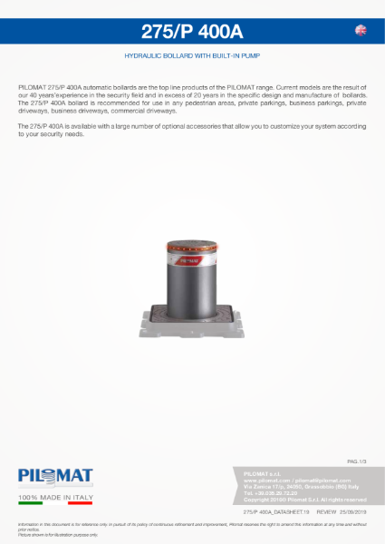 Macs 275/P400 Automatic Bollard Data Sheet