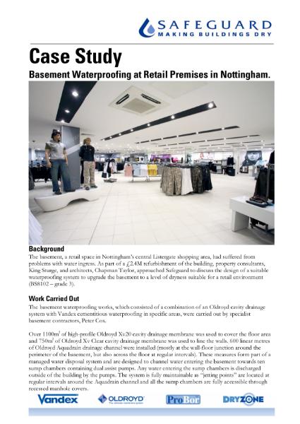 Case Study - Basement Waterproofing at Retail Premises in Nottingham