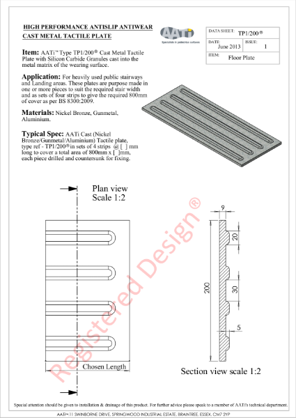 Corduroy tile / plate AATi type TP1/200 Cast metal and anti-slip