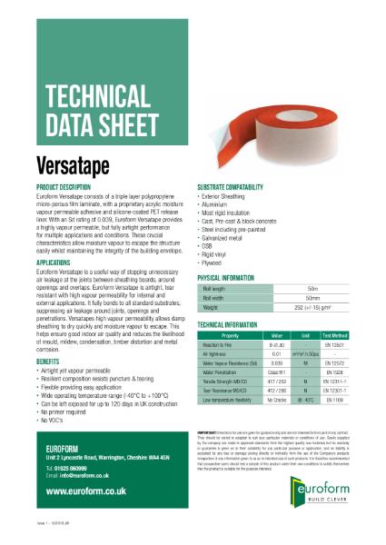 Euroform Versatape Technical Data Sheet