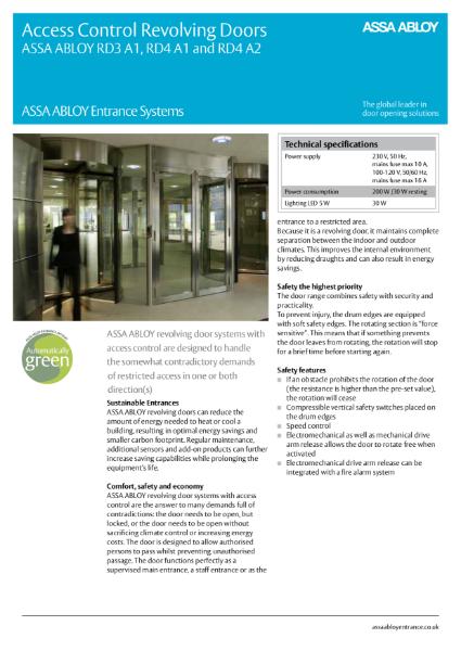 Automatic Door - Compact Access Control- ASSA ABLOY RD3A/RD4A Automatic Revolving Door