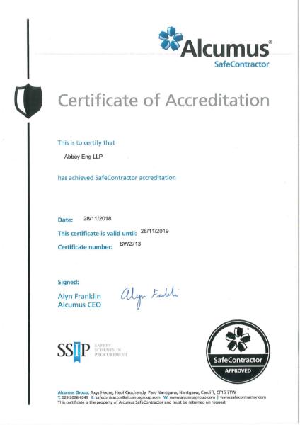 SafeContractor Certificate
