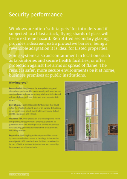 Security and safety secondary glazing  protecting environments and providing duty of care