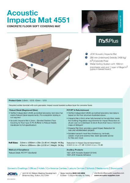 Impacta 4551 Mat - Bonded Acoustic Resilient Floor Covering for Solid Concrete Floors