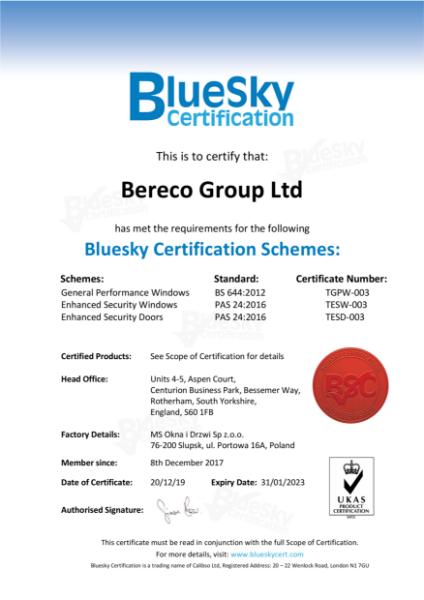 Enhanced Security Doors Certificate