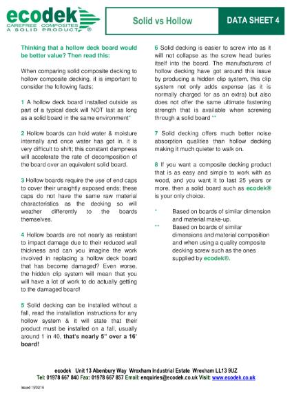 ecodek® Factsheet - Solid Vs Hollow