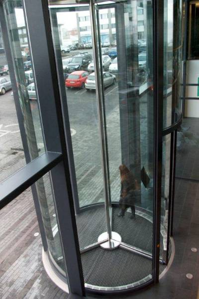 Arion Bank, Iceland. A 6.2m tall revolving door.