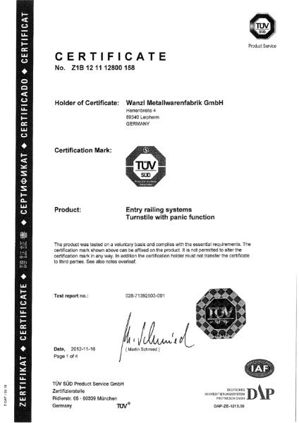 EasyGo - TUV Certificate