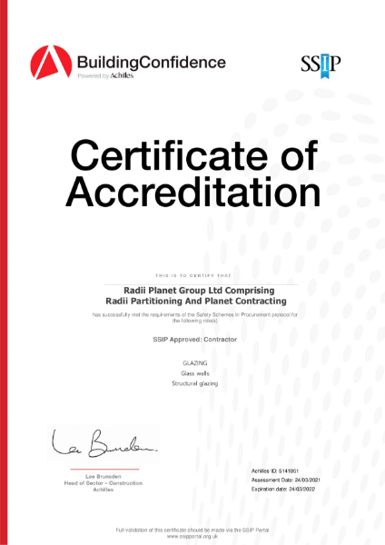 Achilles Building Confidence Certificate of Accreditation