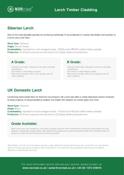 Siberian & UK Larch Timber Cladding - NORclad