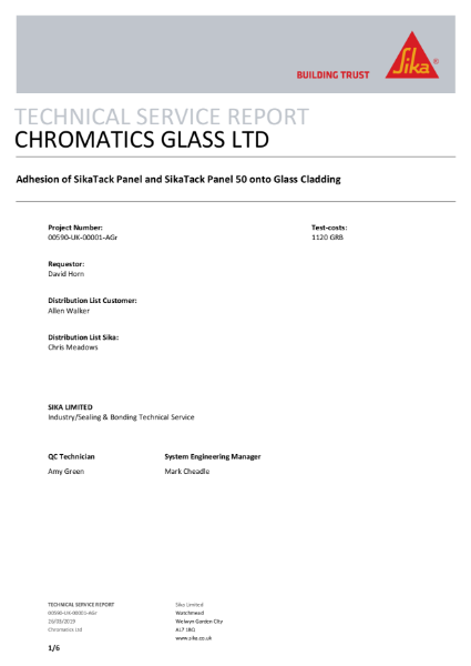 Chromatics process compatibility with structural adhesives
