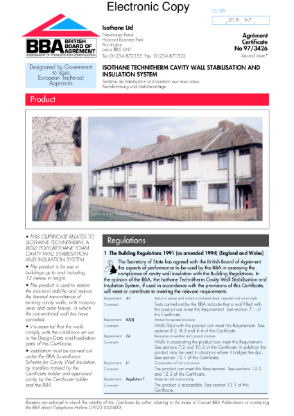 97/3426 Isothane Technitherm cavity wall stabilisation/insulation system