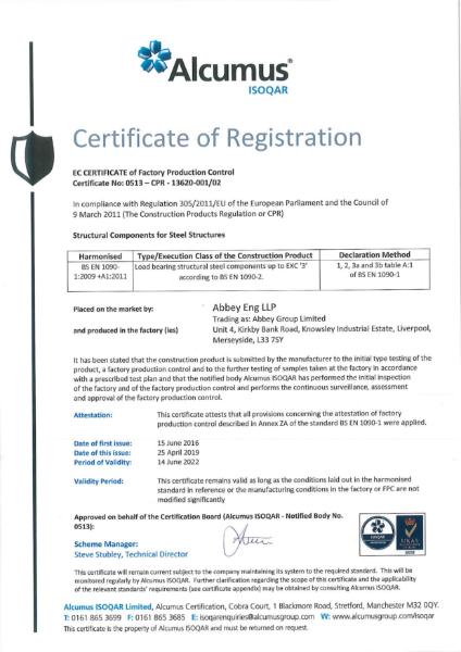 BS EN 1090 EXC '3' Certificate