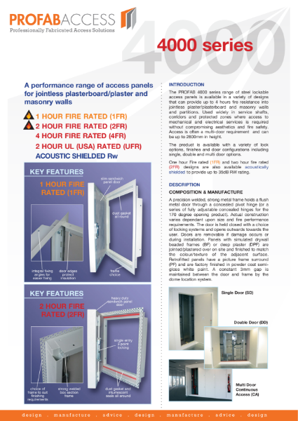 Profab INTEGRA 4000 Series Riser Door Fire Rated up to 4hrs