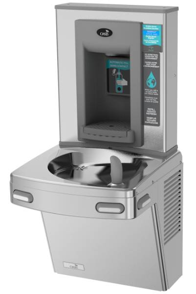 P8EBFY Wall Mounted Hands-Free Bottle Filler + Manual Drinking Fountain
