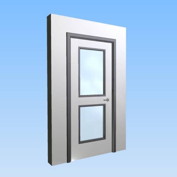 CS Acrovyn® Impact Resistant Doorset - Single with type VP2 Vision Panels