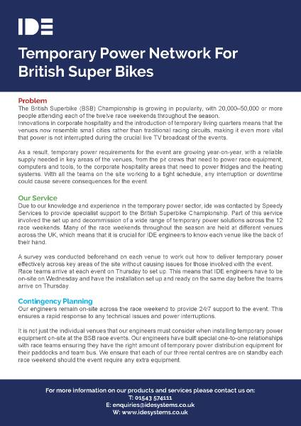 Temporary Power Network For British Super Bikes