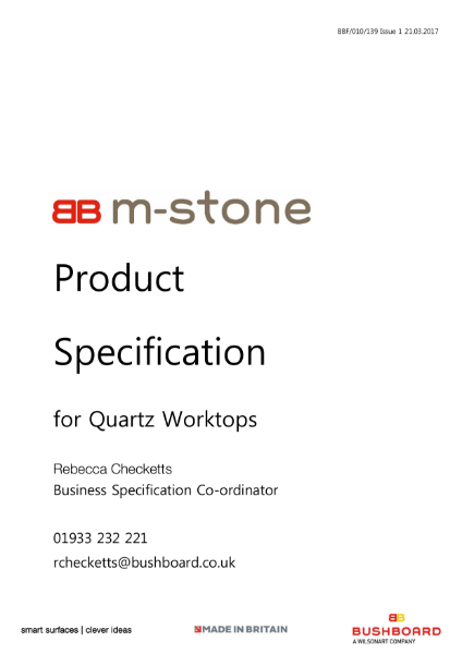 M-Stone Specification- Worksurfaces