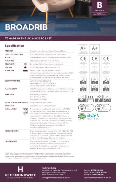 Specification Sheet - Broadrib Commercial Carpet, Carpet Tiles & Carpet Planks