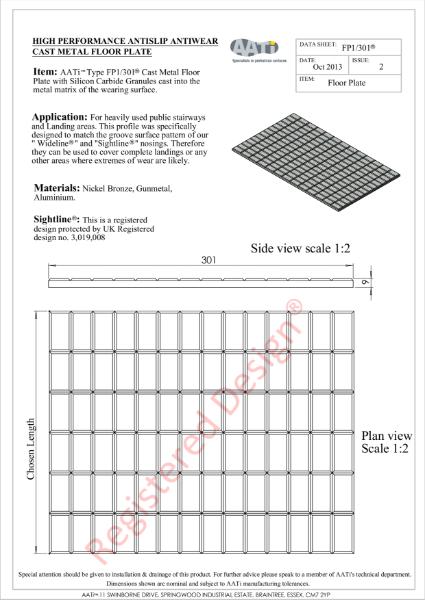 Floor / Landing Plate AATi type FP1/301® Cast metal anti-slip