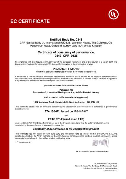 Protecta EX Mortar - EC Certificate