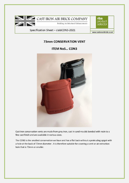 Conservation vent without a spigot for small holes up to 75mm