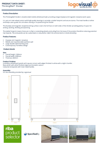 ThinkingWall Divider Whiteboard Data Sheet