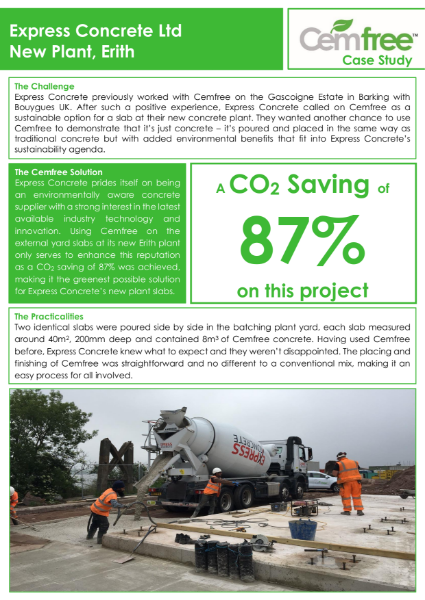 Erith Concrete achieves an 87% saving using Cemfree