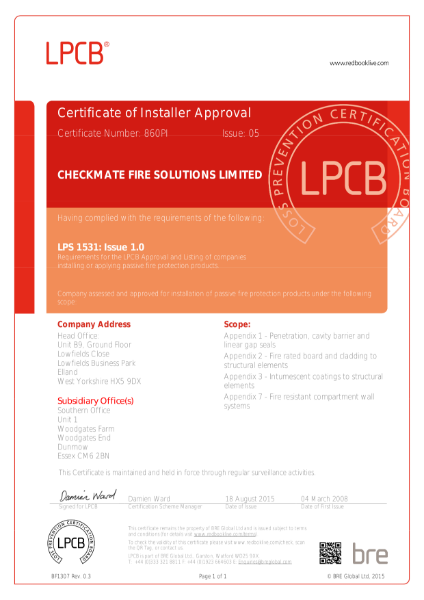BRE Certificate Checkmate Alufire Installation LPS1531