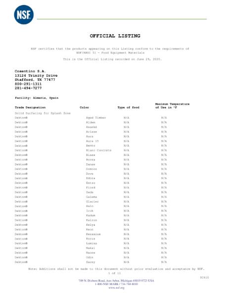 DEKTON NSF CERTIFICATE 06 2020