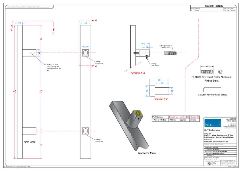 BLU™ - HAB15 Inline Rectangular 'T' Bar Pull Handle Secret Fix for Aluminium