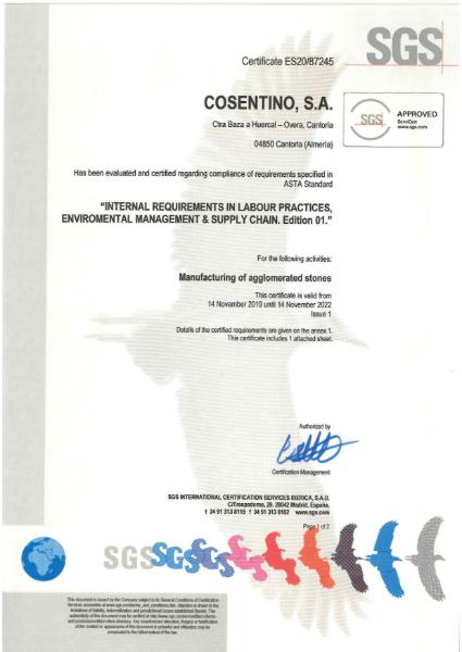 SILESTONE Certificate ASTA supply chain
