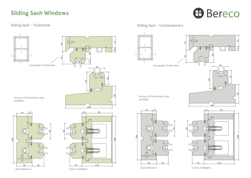 Bereco Sliding Sash Sections
