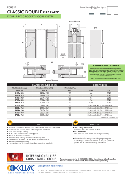 Classic DOUBLE FIRE RATED Pocket Door System
