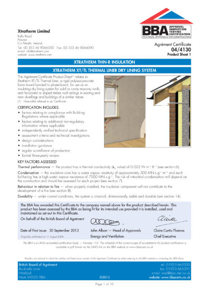 04/4130 Xtratherm XT/TL Thermal Liner Dry Lining System (Product Sheet 1)