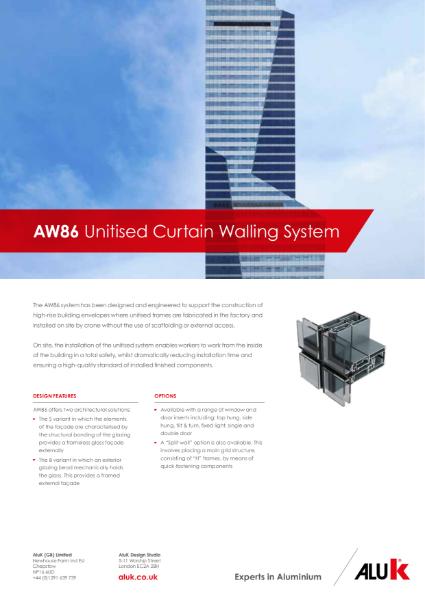 AluK AW86 Unitised Curtain Walling System Datasheet
