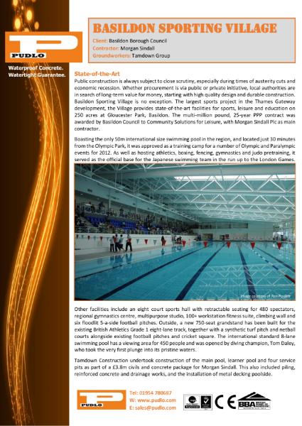 PUDLO waterproofs Basildon Sporting Village swimming pool