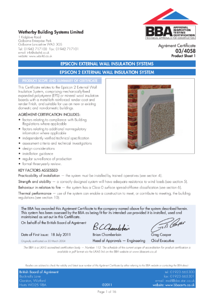 03/4058 Epsicon 2 External Wall Insulation