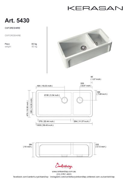 Kerasan Art 5430 Hampshire Technical drawing