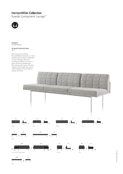 Tuxedo Lounge Seating - Product Sheet