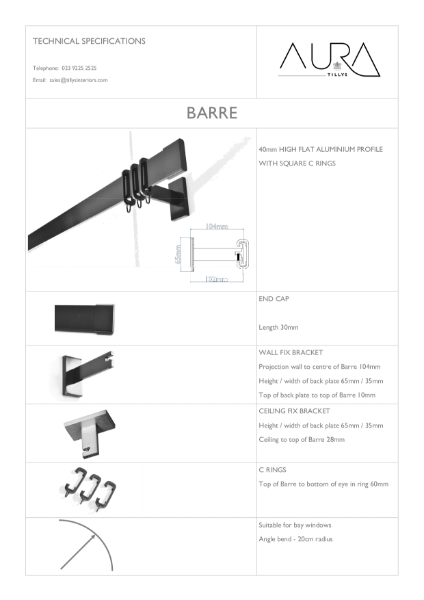 Curtain Rail / Poles - Rod System Specifications