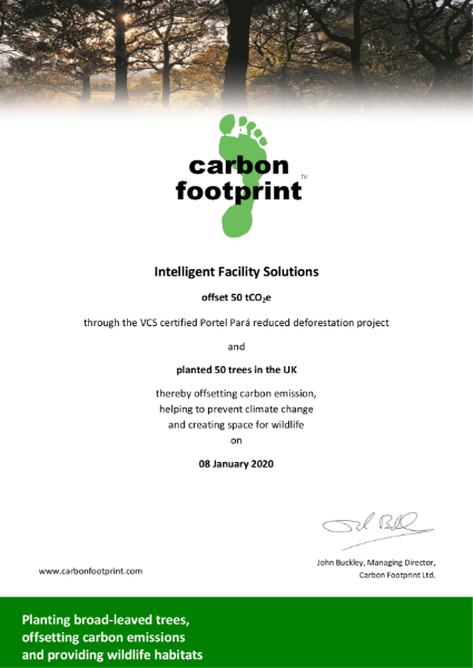 January 2020 Offset Certificate Intelligent Facility Solutions
