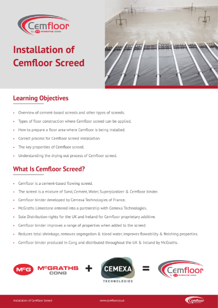 Cemfloor Screed On-Site Installation Procedures