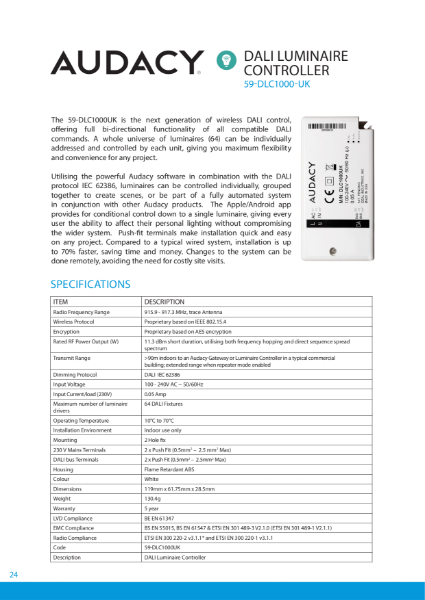 AUDACY Wireless Lighting Controls - By CMD Ltd